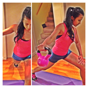 Lateral hand raises in a lunge position
